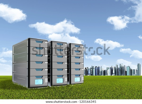 Computer Server on green grassland. A symbol of environmental friendly or green technology