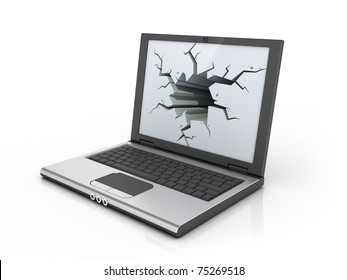 computer stress - frustration concept - notebook, laptop, netbook with broken display 3d illustration
