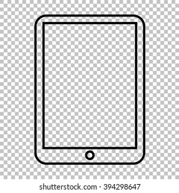Computer tablet line icon on transparent background