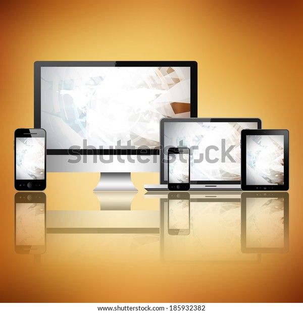 Computer, tablet pc, mobile phone and notebook