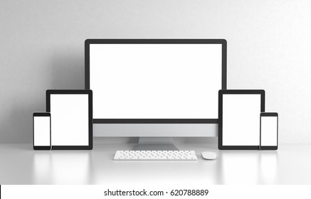 Computer tablet and phone blank screen on white office desk, workspace mock up design illustration 3D rendering