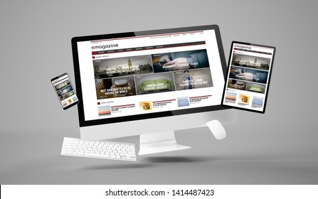 computer, tablet and smartphone showing e-magazine responsive website with white scren 3d rendering