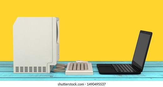 Computer Technology Concept. The System Unit, Monitor, Keyboard and Mouse in front of Modern Laptop Computer on a wooden table. 3d Rendering
