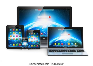 Computer technology, mobility and communication business concept: laptop, notebook or netbook PC, mini tablet computer, touchscreen smartphone and desktop monitor display screen TV isolated on white