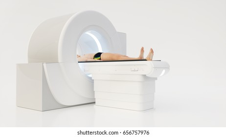 Computer tomography with human on white background- 3D Rendering