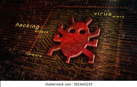 Computer virus attack, cyber security, malware, crime, spying software technology with digital worm icon. Abstract 3d symbol concept rendering illustration.
