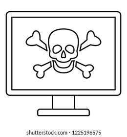 Computer virus attack icon. Outline illustration of computer virus attack icon for web design isolated on white background