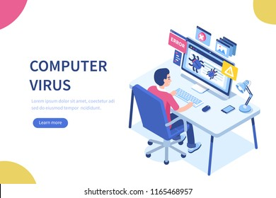 Computer virus concept with character and text place. Can use for web banner, infographics, hero images. Flat isometric illustration isolated on white background.