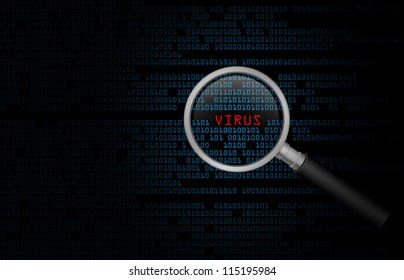 Computer virus found in binary code with a search magnifying glass.