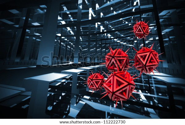 Computer virus illustration with red sharp objects in the dark blue digital tunnel. 3d render background