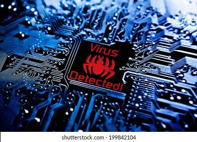 computer virus sign on circuit board