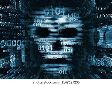 Computer virus skull danger concept.  Illustration of Abstract Skull sign with binary codes on blue background. Concept for online piracy, hacking.