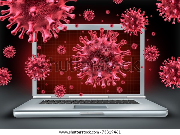 Computer virus symbol represented by a laptop with red cyber attacking bacteria hacking into the email network.
