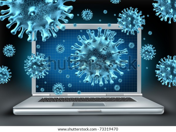 Computer virus symbol represented by a laptop with blue cyber attacking bacteria hacking into the server network.