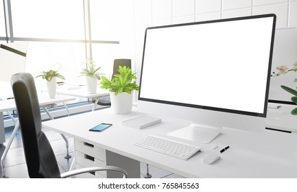 computer with white screen at modern office 3d rendering