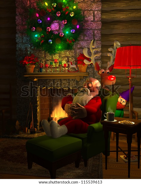 Computer-generated 3D cartoon illustration depicting Santa Claus resting by his fireplace