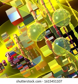 Computer-generated 3D fractal.Abstract fractal illustration of geometric shapes in bright color.