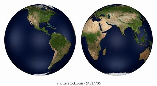 Computer-generated 3D illustration depicting the Earth - Eastern and Western Hemispheres