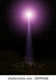 Computer-generated 3D illustration depicting the first Christmas in Bethlehem