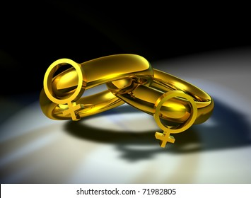 Computer-generated 3D illustration depicting two gold wedding bands with female symbols linked together