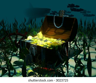 Computer-generated graphic depicting a sunken treasure chest (concept: wealth)