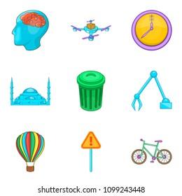 Computerization of city icons set. Cartoon set of 9 computerization of city icons for web isolated on white background