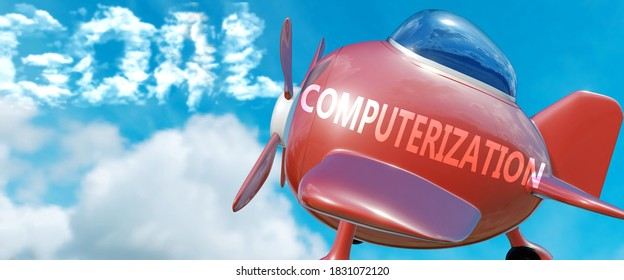 Computerization helps achieve a goal - pictured as word Computerization in clouds, to symbolize that Computerization can help achieving goal in life and business, 3d illustration