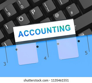 Computerized Accounting Digital Bookkeeping Audit 3d Rendering Shows Business Data Virtual Management From A Financial Auditor