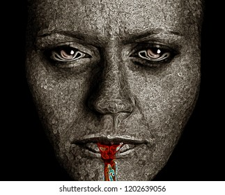 Computerized version of a Disturbing Image of a very depressed Woman on Black