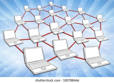 Computers connected in huge network. Symbol for internet and social media. Sky background.