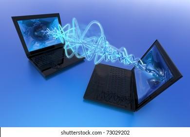 Computers exchange data