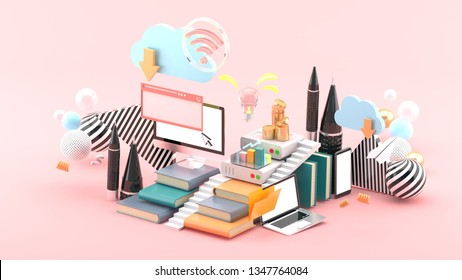 Computers, laptops and smartphones On the stack of books And the Cloud system Surrounded by colorful balls on a pink background.-3d rendering.