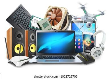 Computers, mobile devices and digital accessories logo. Isolated on white background 3d