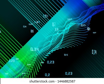 Computing algorithm artificial cryptography infographic. Big data color visualization.
