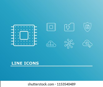 Computing icon set and encryption with global network, hardware and cloud computing. Dossier related computing icon  for web UI logo design.