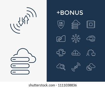 Computing icon set and network folder with data migration, cloud search and backup. Cloud technology related computing icon  for web UI logo design.