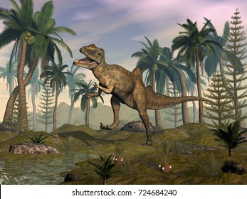 Concavenator dinosaur roaring in the desert - 3D render