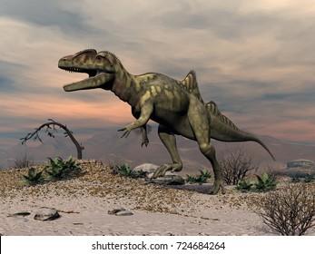 Concavenator dinosaur walking in the desert - 3D render