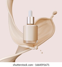 Concealer cosmetic product with liquid foundation splash, 3d illustration.