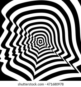 Concentric abstract symbol, Donald Trump profile - optical, visual illusion.
