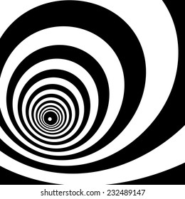 Concentric oncoming abstract symbol, bust - optical, visual illusion