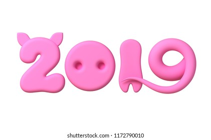 Concept 2019 With Pink Numbers As Pig Ears, Nose, Leg And Tail Isolated On White Background. 3D Illustration.