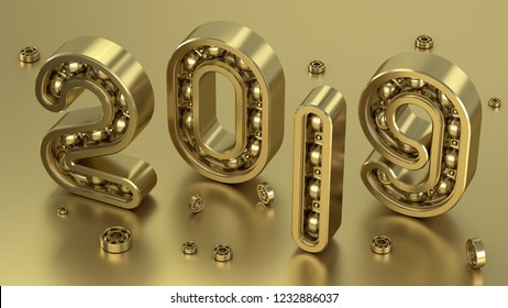 Concept 2019 year with numbers as bearing. 3D Illustration