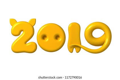 Concept 2019 With Yellow Numbers As Pig Ears, Nose, Leg And Tail Isolated On White Background. 3D Illustration.