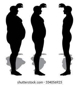 Concept 3D fat overweight vs slim fit diet with muscles young man silhouette isolated on white background metaphor weight loss, body, fitness, fatness, obesity, health, healthy, male, dieting or shape