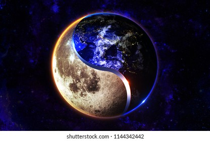 Concept 3D Illustration of balanced Yin and Yang :: Moon and Earth