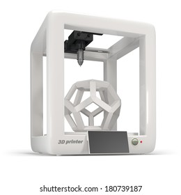 concept, 3d printer on a white background