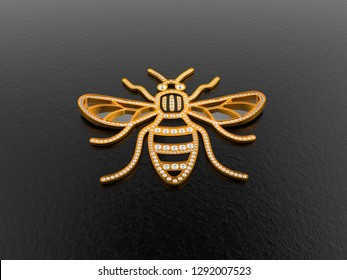 Concept 3D rendering of Jewelry Manchester Bee logo with diamonds stones isolate on a dark background. Photorealistic renders