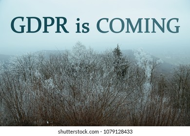 Concept about GDPR Law with winter landscape