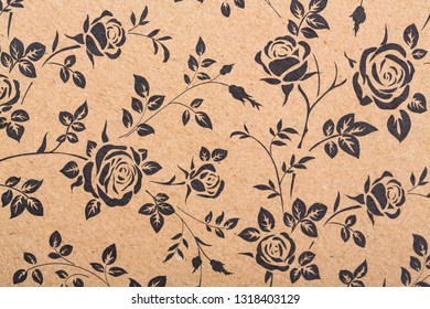 Concept abstract floral seamless pattern flora surface design. Repeatable motif with stylized flowers for fabric wrapping paper background. Flowers on brown kraft paper